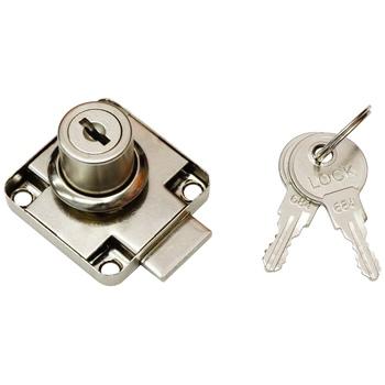 Замок мебельный MAXI Locks FL138-22P с планкой металлический ключ YZ Хром
